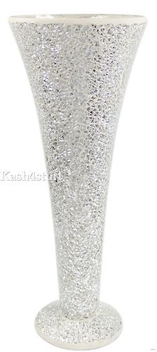 crystal mosaic vase glass silver for home