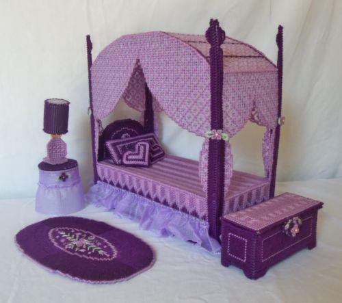 Custom Purple Miniature Barbie Doll Bedroom Canopy Bed