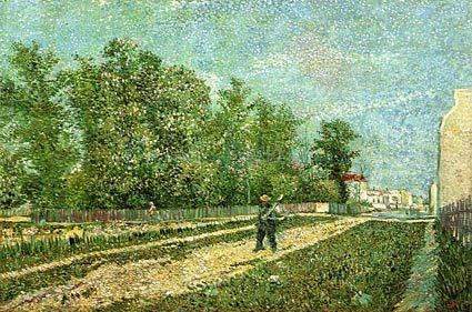 Man With Spade In A Suburb Of Paris 1887 oil painting by Famous Artist - Vincent Van Gogh