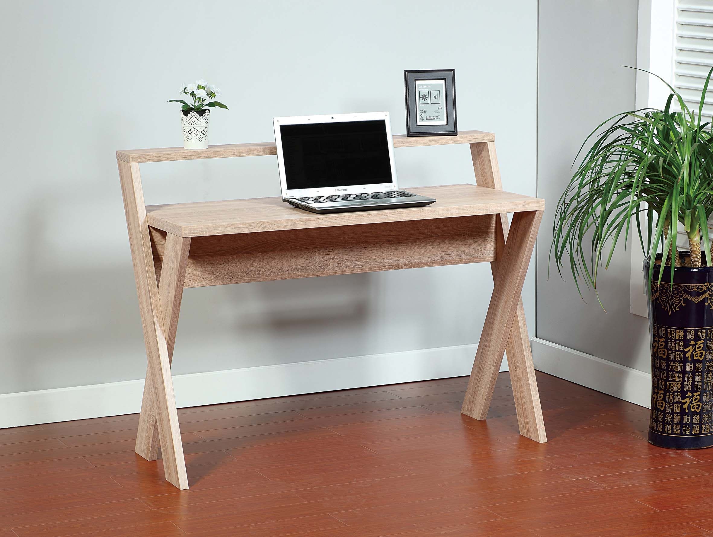 14941 Smart Home Weathered White X Designer Desk Features An All Around  Finish In Weathered White