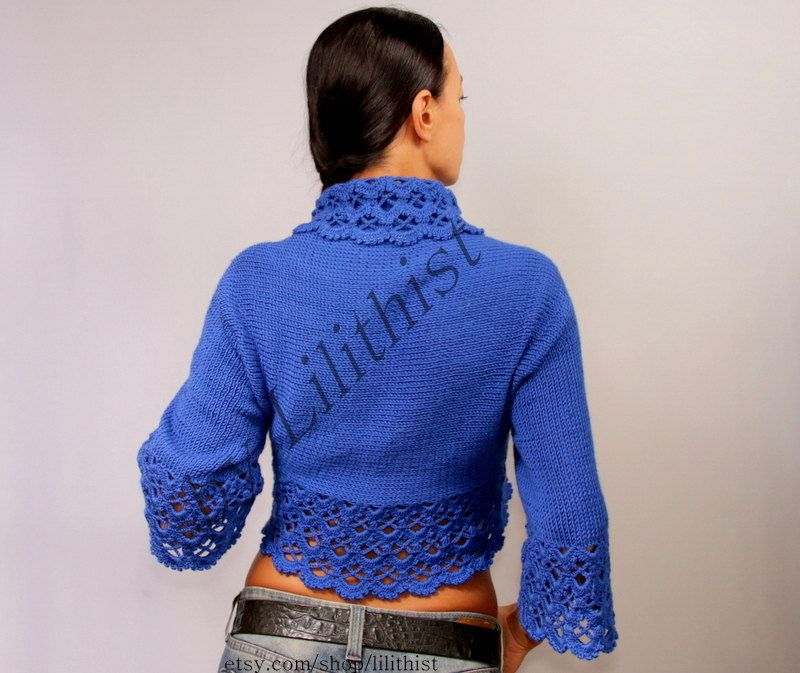 Cobalt Blue Shrug Bolero Crochet Shrug Crochet Bolero by lilithist