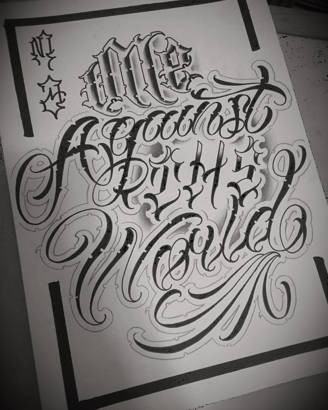 It's Just Me Against The World.#chicano #lettering