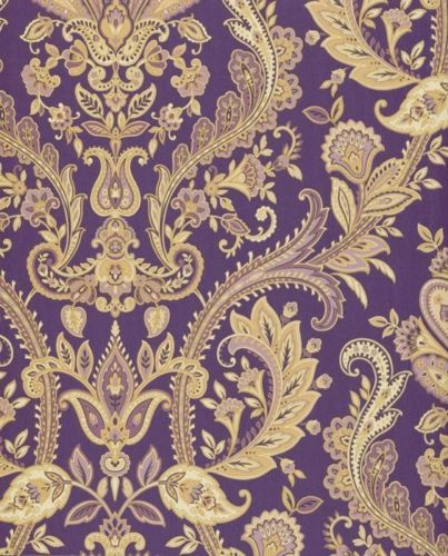 Traditional Purple Tan Shimmering Gold Paisley Designer Boho Chic Wallpaper Diy