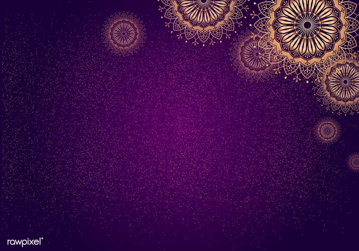 Download Premium Vector Of Gold Mandala On Purple Background Vector 555662 Purple Backgrounds Mandala Background Gold Mandala