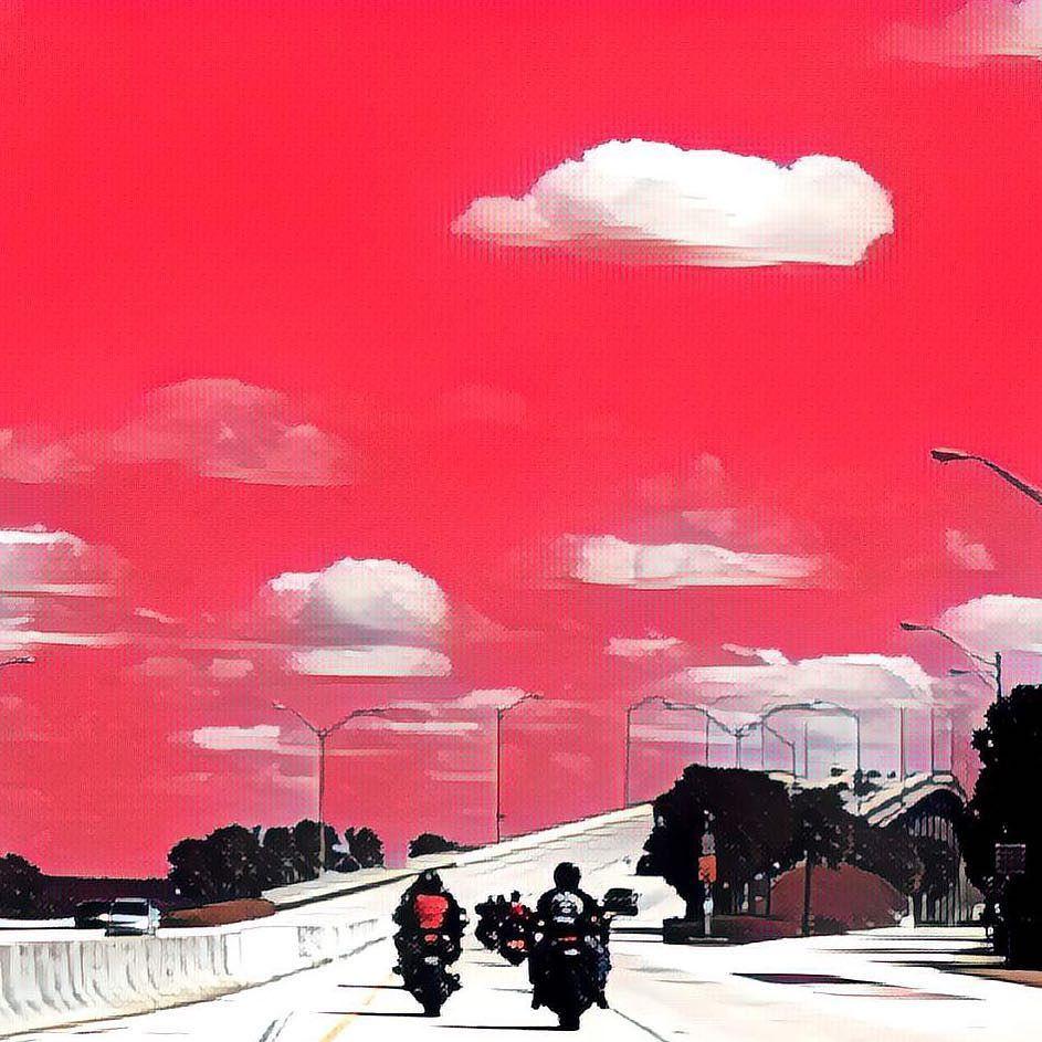 #streetphotography #streetphoto #keybiscayne #bikes #painting #paint #red #textures #urbanphotography #urban #clouds #minimalist #minimal #view #scene