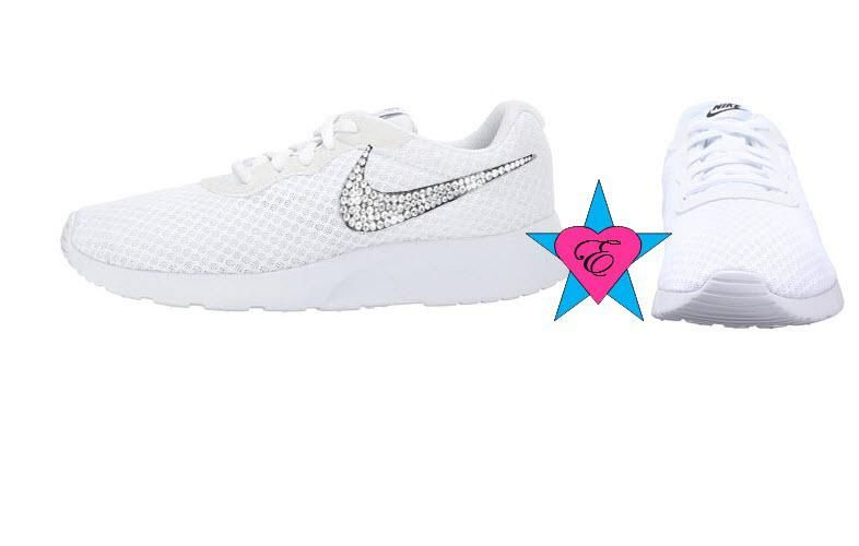 90b72b8ea1 Glitter Nike Shox Crystal Sneakers White Nike Tanjun Shoes ...