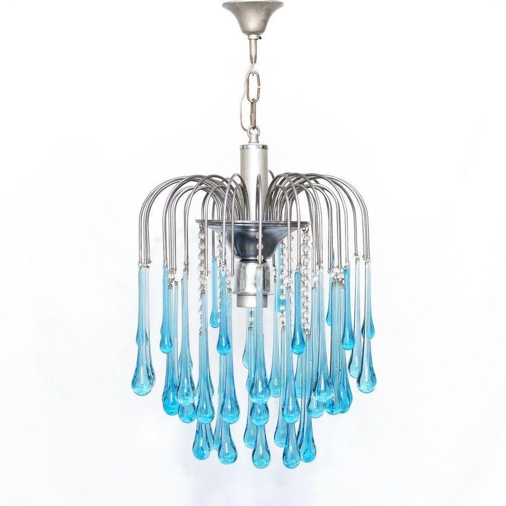 Vintage mid century chandelier murano turquoise blue crystal drops vintage mid century chandelier murano turquoise blue crystal drops pendants arubaitofo Images