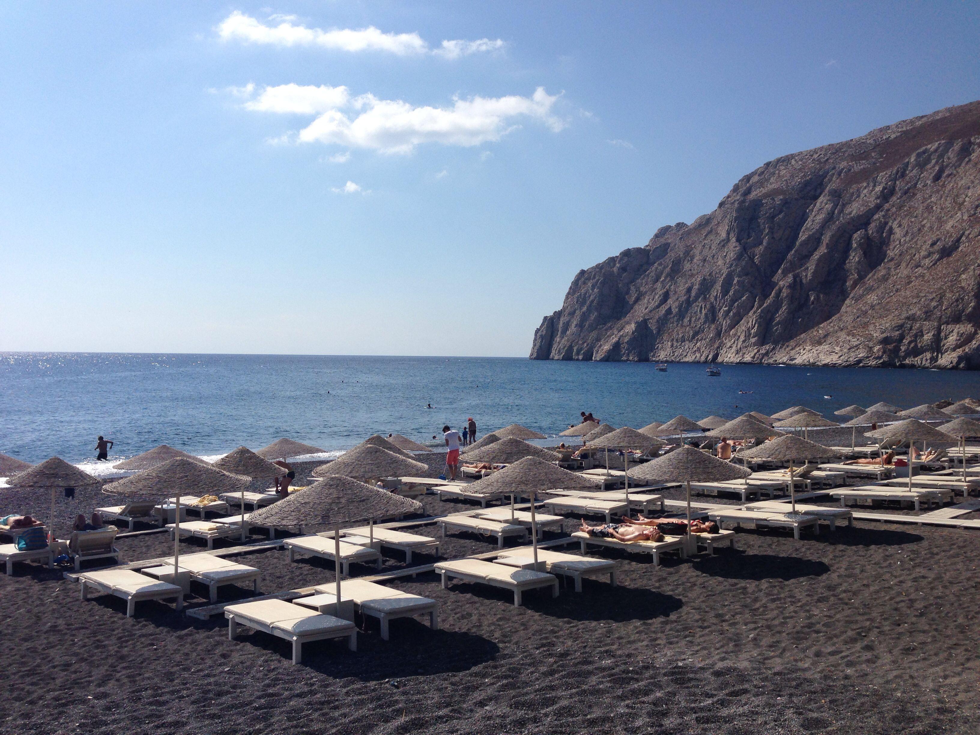 Amoudi Villas Kamari Beach Black Beach In Santorini Greece We Stayed At Rk