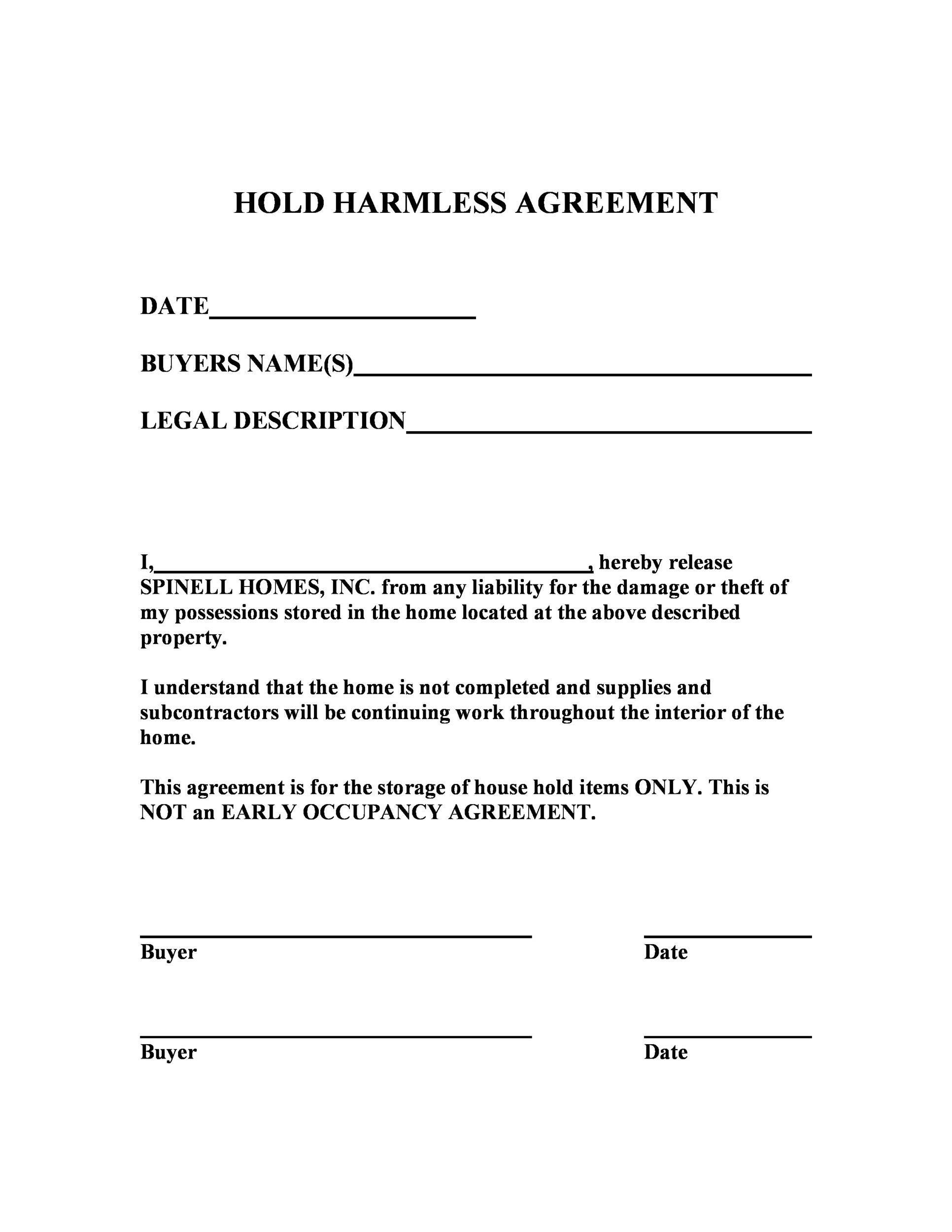 30++ Hold harmless letter bank ideas