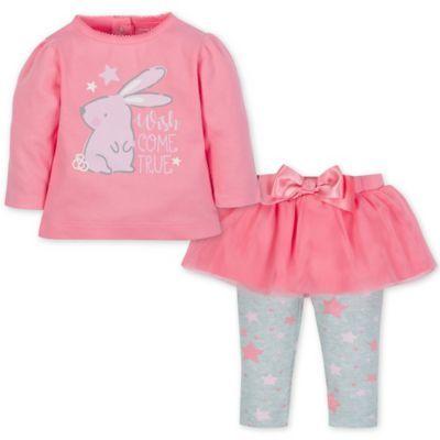 72e09af3545a Gerber Size 3-6M 2-Piece Bunny Top And Tutu Legging Set In Pink ...