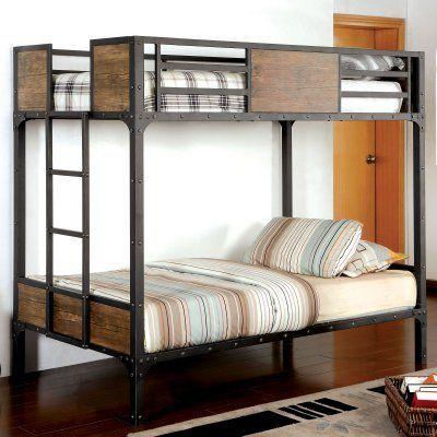 Furniture Of America Brighton Wood Panel Twin Over Twin Bunk Bed Black Idf Bk029tt Durable Beliches Triplos