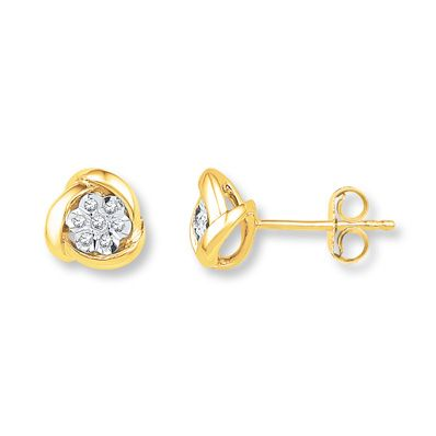 Diamond Earrings 1/20 ct tw Round-cut 10K Yellow Gold
