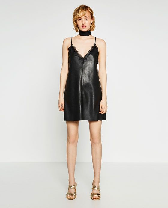 58e03a889576e Image 1 of FAUX LEATHER CAMISOLE DRESS from Zara | Dream List in ...