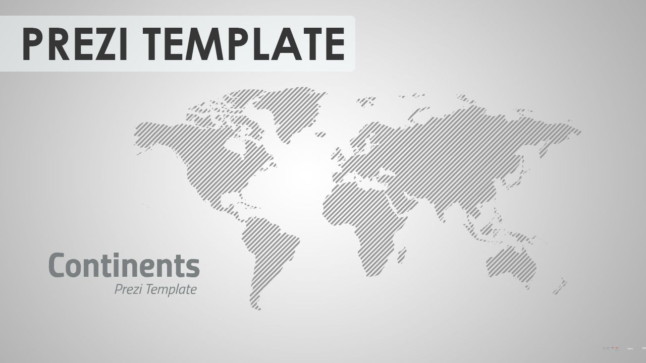Prezi Template With A World Map Use The Default Grey Version Or Animate In Each Colored Continent Individually Good For Variety Of Topics