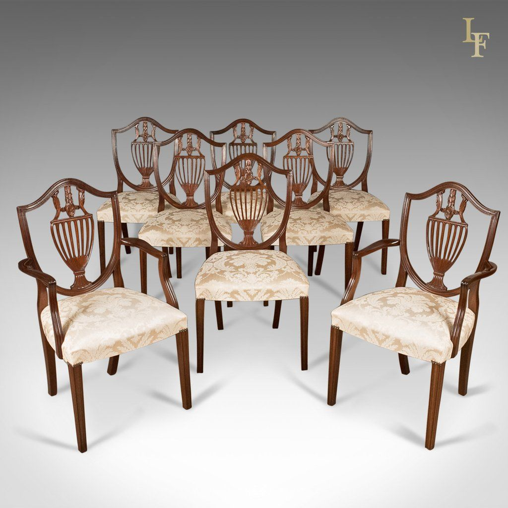 Set Of 8 Dining Chairs Late 20th Century Retailed By Harrods London