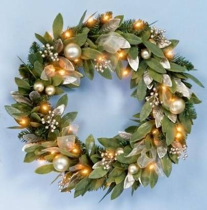 Premier Pre-Lit Gold Bay Leaf Christmas Wreath | Winter ...