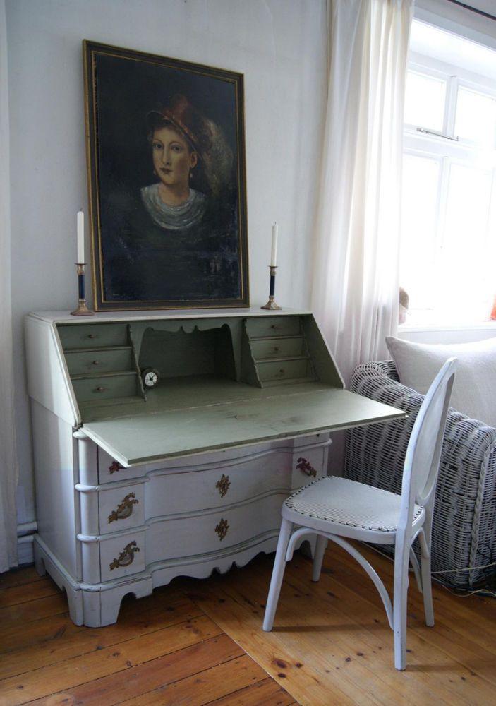Sekretär antik Barock Eiche weiß-grün shabby Schweden Landhaus ...