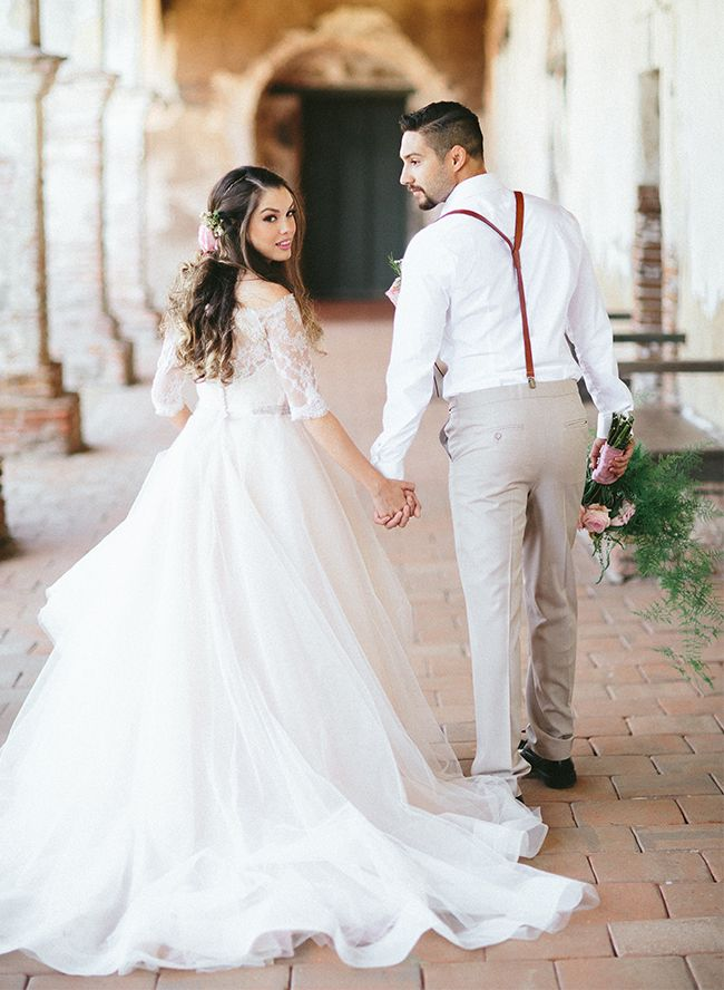 San Juan Capistrano Spanish Wedding Inspiration | Lace wedding gowns ...