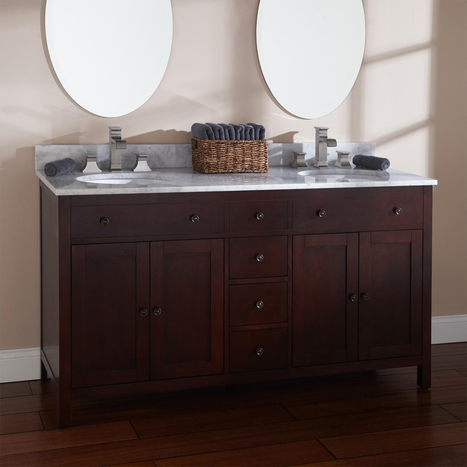 "60"" Vargas Cherry Double Vanity For Undermount Sinks  Undermount Fair Cherry Bathroom Vanity 2018"