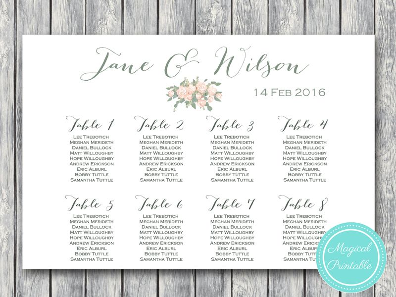 Custom Wedding Seating Chart Template, Instant Download, Free - free wedding seating chart templates