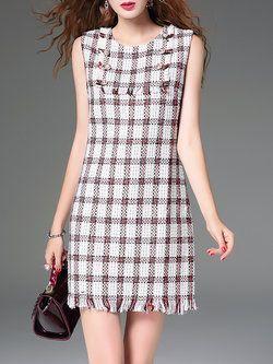 8edc60724f54 Sleeveless Fringed Beaded Checkered Plaid Sheath Mini Dress ...