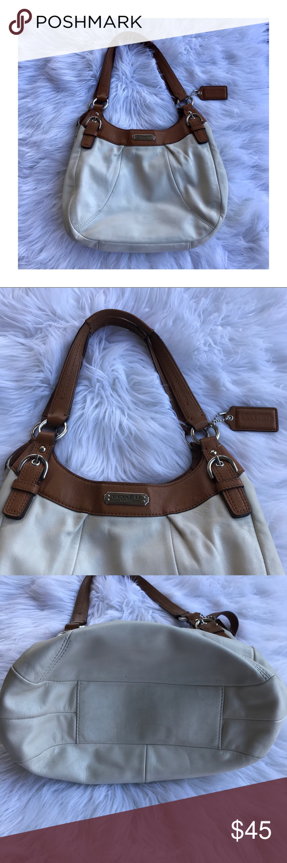 1afc116175 Cream Coach Purse Cream colored Coach purse with tan straps. Super cute and  perfect for any occasion. Used but has a lot of live left in it!
