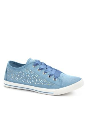 Blue Embellished Lace Up Trainers