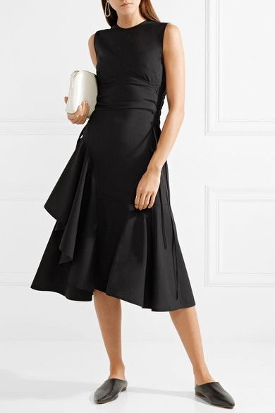 Asymmetric Lace-up Wool-blend Midi Dress - Black ADEAM Lowest Price Footaction For Sale rKALg4YW1