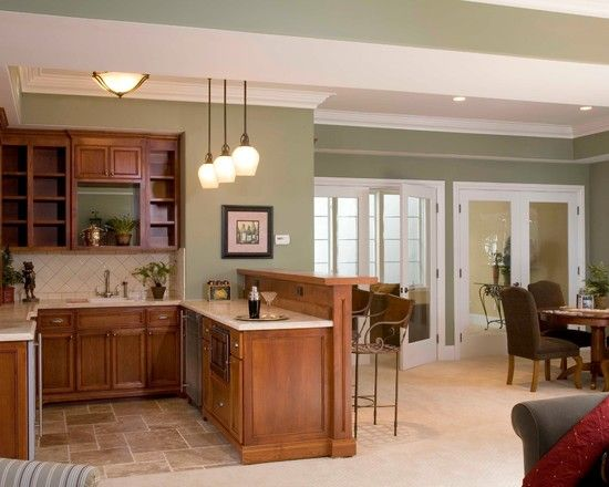 Kitchen living hall kennebunkport green by benjamin - Paint colors for living room and kitchen ...