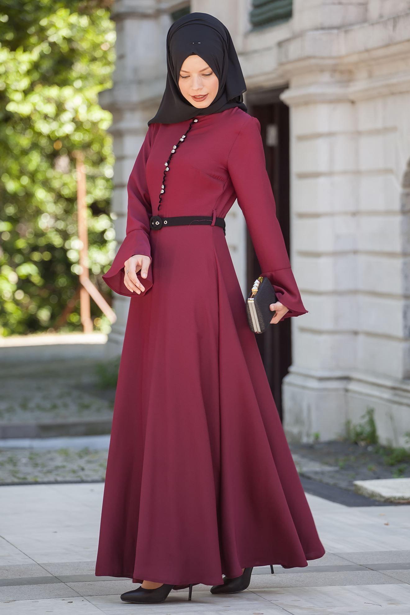 36c846a3466cf Sedanur Tesettür Bordo Renk Elbise Modası - Moda Tesettür Giyim ...