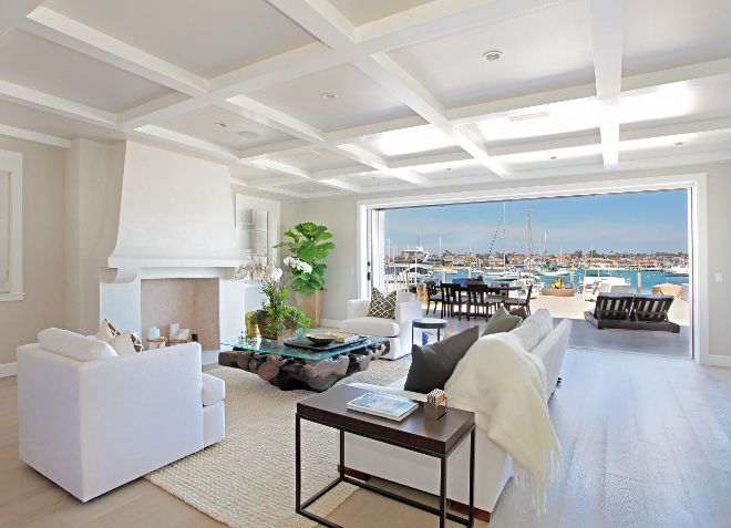 Living room coffered ceiling and sliding patio doors. Winkle Custom ...