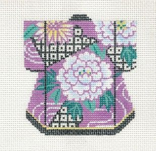 LEE Oriental Peony with Gold Petite Kimono handpainted Needlepoint Canvas