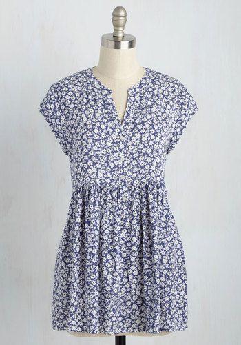 Eccentric Collector Top in Indigo - Cap Sleeves | Mod Retro Vintage Short Sleeve Shirts | ModCloth.com