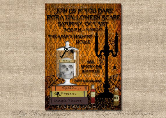 halloween invitation handmade digital invite por LisaMariesPaperie