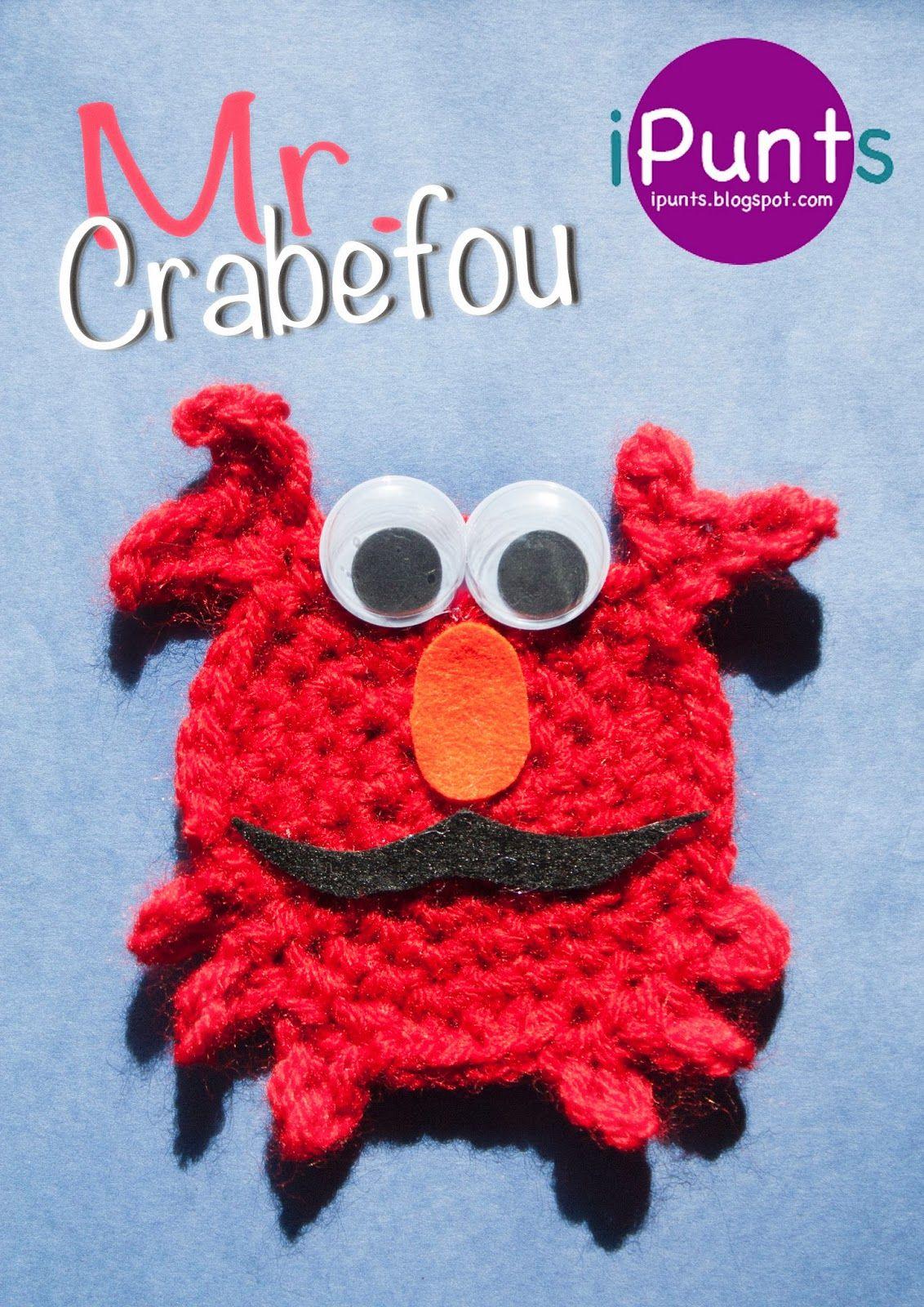 Mr. Crabefou, un cangrejo loco y divertido. Patrón gratis en el blog ...