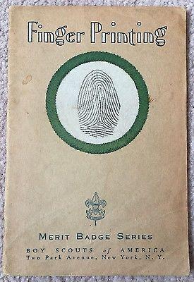 1938 Boy Scouts Of America Merit Badge Series Fingerprinting Boy Scouts Of America Merit Badge Boy Scouts