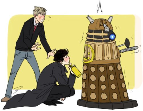 sherlock tumblr | ... you draw Sherlock and John getting attacked by a Dalek?OMG hahahah