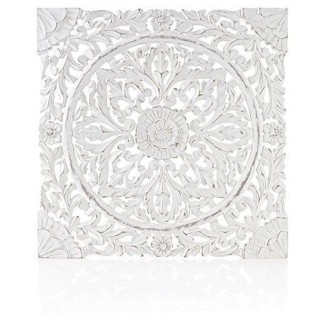 Wandbild wei 60x60 cm geschnitzt shabby chic for Schrank 60x60