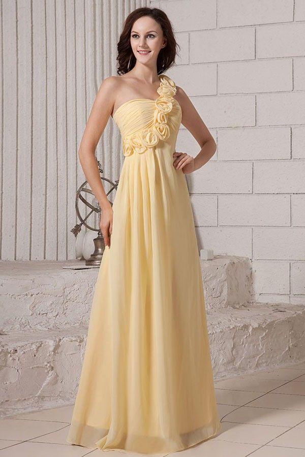 Floor Length One Shoulder Floral Daffodil Chiffon Bridesmaid Dress