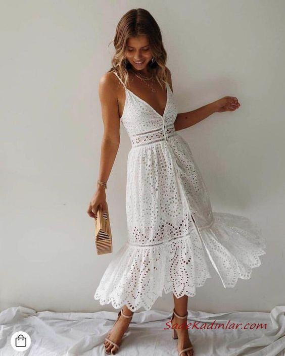 2020 Yazlik Kombinler Beyaz Midi Ip Askili V Yakali Islemeli Elbise Krem Topuklu Ayakkabi Moda Stilleri Elbise The Dress