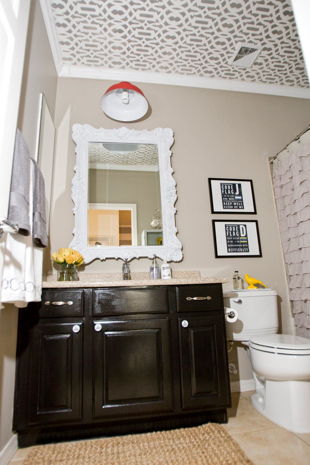 Love This Bathroom Black Cabinets Dutch Boy Paint Color Stonewall Jackson Silver Paint Used With Images Bathroom Inspiration Decor Bathroom Decor Painting Cabinets