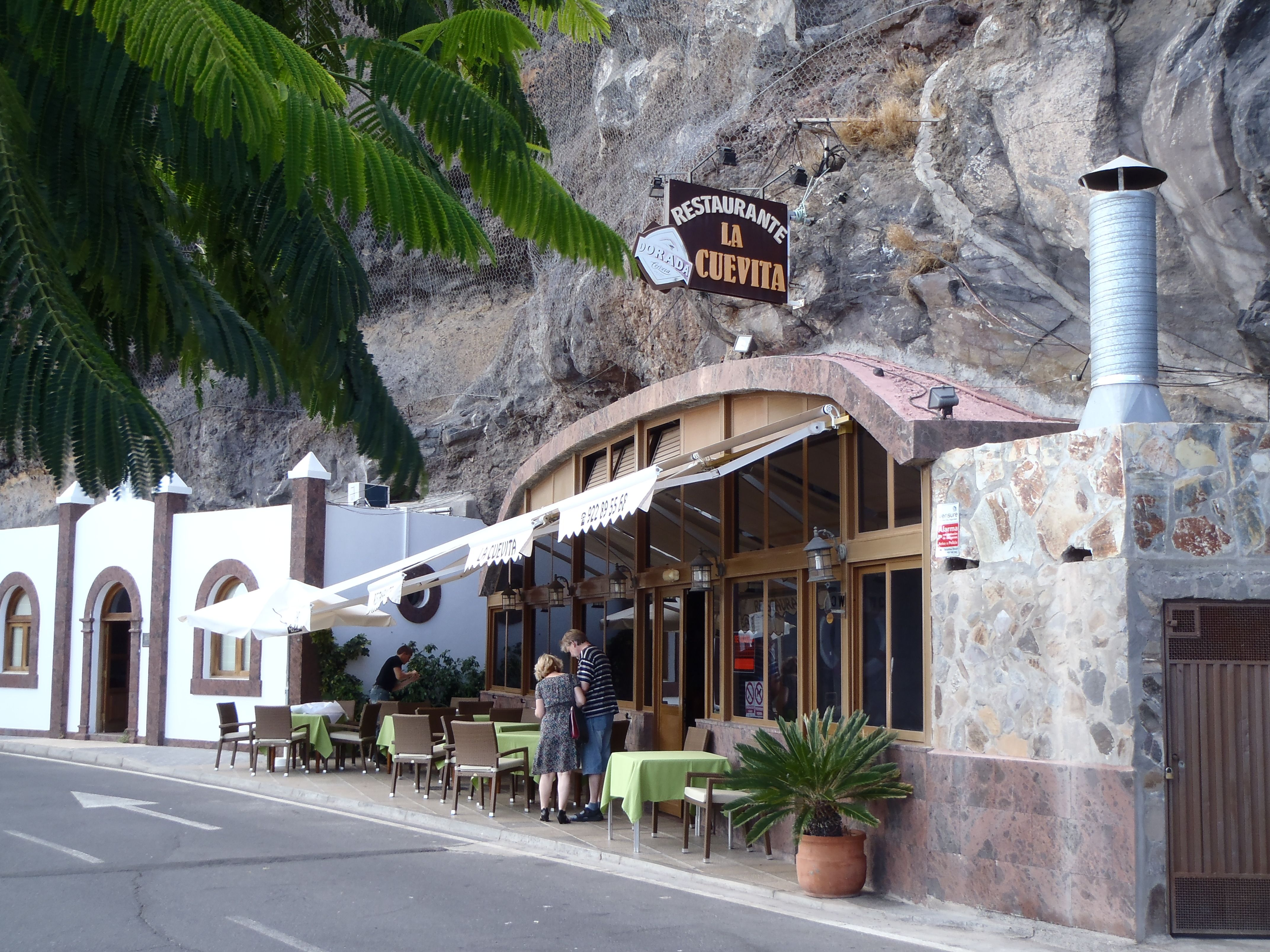 A restaurant built into the cliff