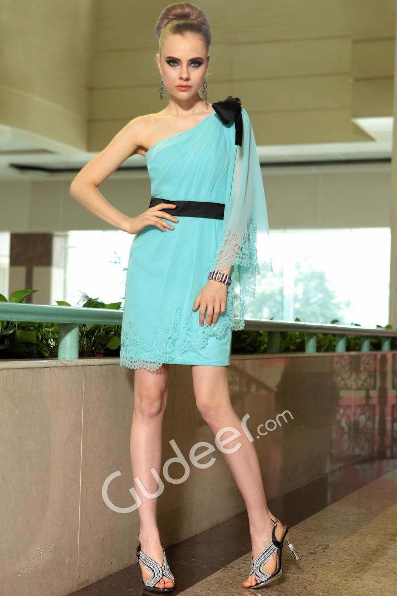 Light turquoise one shoulder short sheath prom dress fashion