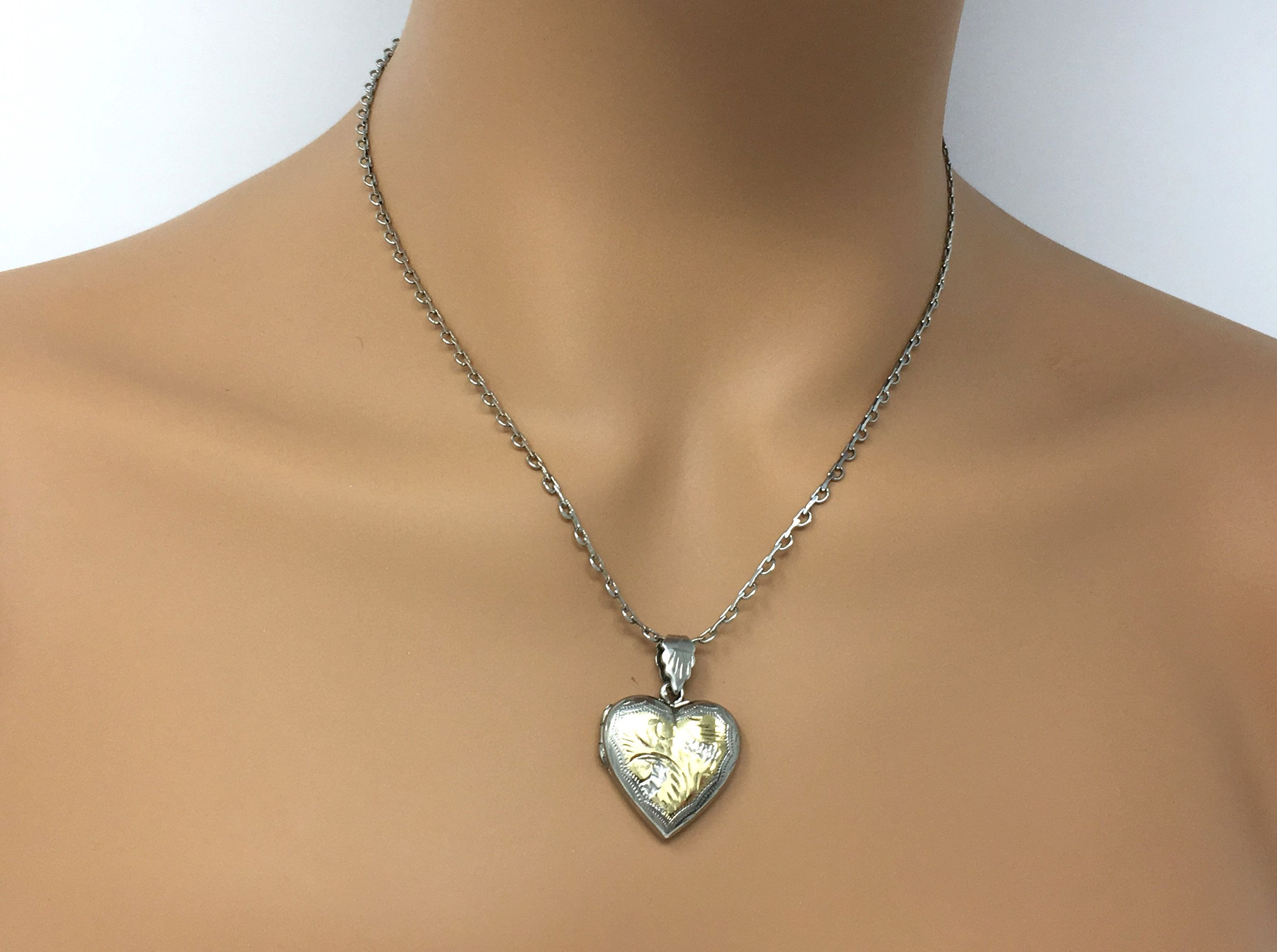 Vintage Sterling Puffy Heart Necklace Small Childs Heart Nexklace Etched Engraved Heart Necklace