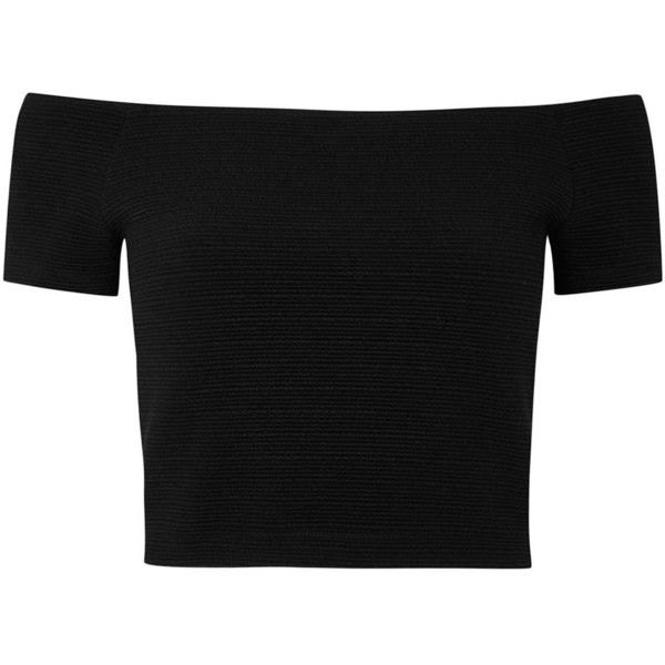 Womens Crop Tops Alice + Olivia Gracelyn Cropped Stretch Jersey Top (€225)  ❤ · Off Shoulder ...