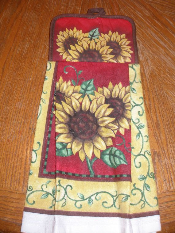 Sunflower Red Themed Pot Holder Topped Kitchen Towel. $5.00, Via Etsy.