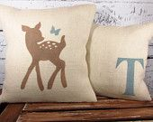 Child's deer and butterfly pillow cover burlap by LaRaeBoutique