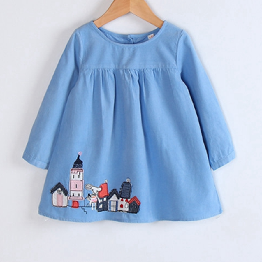 e2ef1f24e2a6 2018 Latest Model Baby Clothes Beautiful Kids Embroidery Dress Long Sleeve  Winter Baby Girl Birthday Dresses