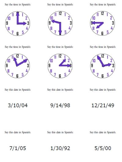 Worksheets Telling Time In Spanish Worksheets With Answers telling time in spanish worksheets worksheet for school pigmu