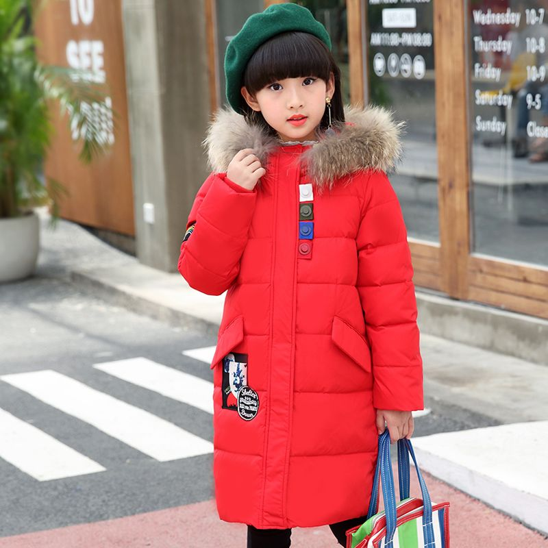 9b08378f5 Fur Hooded Kids Girls Winter Coat 80% White Duck Down Jackets for ...